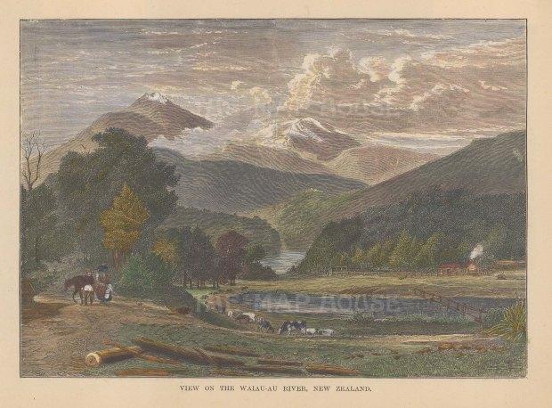 "Brown: Waiau-au River. 1885. A hand coloured original antique wood engraving. 8"" x 6"". [NWZp210]"