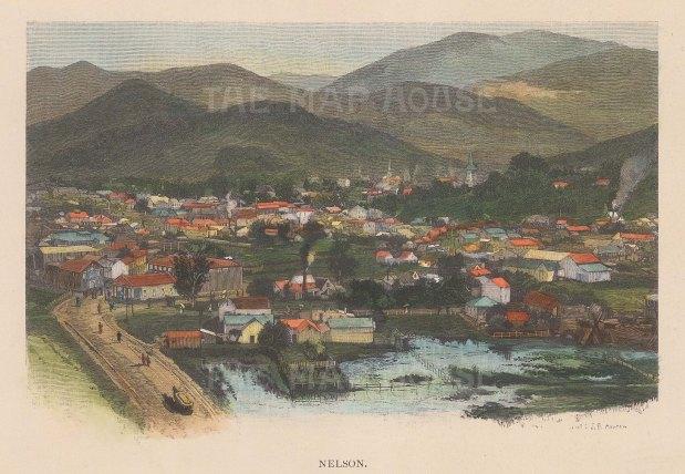 "Picturesque Australia: Nelson. 1888. A hand coloured original antique wood engraving. 8"" x 6"". [NWZp234]"
