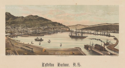 Lyttelton Harbour. Panoramic view of the harbour and railway. Wakefield's New Zealand Land Company established numerous settlements that became principal towns.