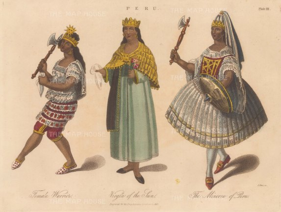 Peru: Amazon warrior of the Yura maguas, Priestess of the Temple of the sun and a women dressed as the Goddess of war in 1789.