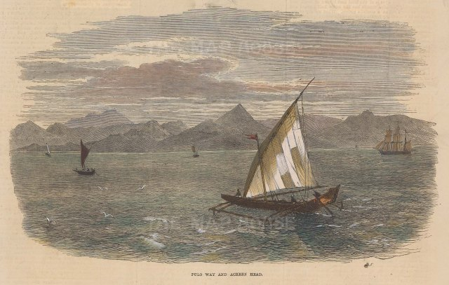Illustrated London News: Ache, Sumatra. c1860. A hand coloured original antique wood engraving. [SEASp1048]