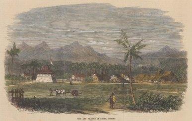 "Illustrated London News: Aceh Fort, Pedir, Sumatra. 1873. A hand coloured original antique wood engraving. 10"" x 6"". [SEASp1049]"