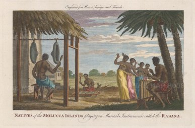 Moluccas: Scene in the Spice Islands of natives playing the Rabana and dancing.