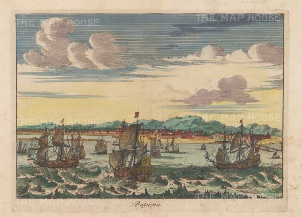 Java: Batavia (Jakarta). View of the Dutch settlement and galleons in the Bay.
