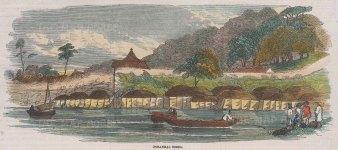 "Illustrated London News: Fusankai, Korea. 1858. A hand coloured original antique wood engraving. 10"" x 4"". [SEASp1430]"