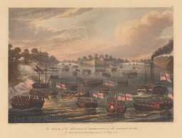 Rangoon (Yangon). Pagoda Point. General Campbell and the Bombay Marines attacking the stockades in July. First Anglo Burmese War.