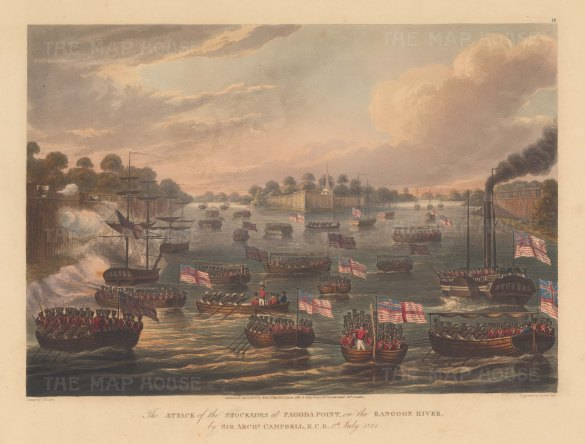 Rangoon (Yangon): Pagoda Point. General Campbell and the Bombay Marines attacking the stockades in July. First Anglo Burmese War.