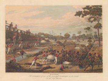 Rangoon (Yangon). The British Army battling to gain the principle stockade. First Anglo Burmese War.