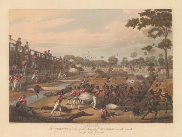 Rangoon (Yangon): The British Army battling to gain the principle stockade. First Anglo Burmese War.
