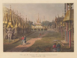 Rangoon (Yangon). Shewdagon Paya. Looking North from the terrace with the artist sketching in the foreground.