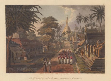 Rangoon: Great Dagon Pagoda as seen from the principal approach with the Bombay Marine in marching formation. First Anglo Burmese War.