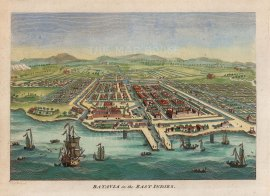 Java: Bird's Eye view of Batavia port and city, centre of the Dutch East Indies trading empire.