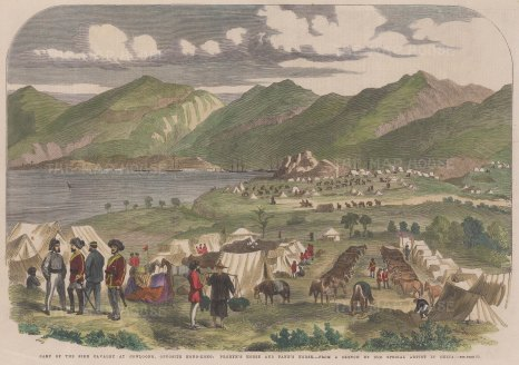 Camp of the Sikh Cavalry across from Hong Kong.