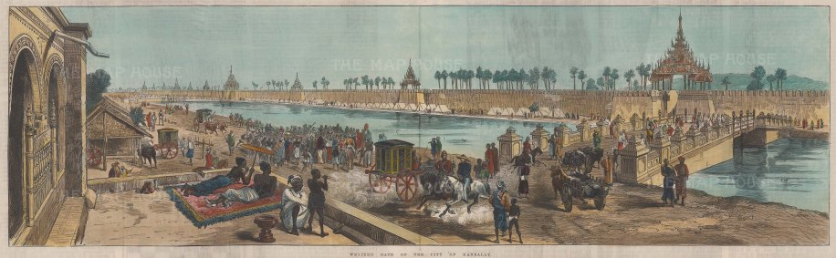 """RESERVED Illustrated London News: Mandalay. 1886. A hand coloured original antique wood engraving. 21"""" x 4"""". [SEASp1608]"""