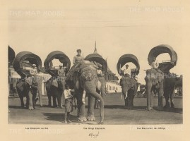 Cambodia. The King's Elephants in 1888. Published in Hanoi. Dieulefils worked for L'Ecole Francaise d'Extreme Orient and first exhibited his photographs at the l'Exposition universelle de Paris 1889.