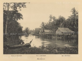Cambodia: Siem Reap River: View of houses on the banks in 1888. Published in Hanoi. Dieulefils, working for the Ecole Francaise d'Extreme Orient, first exhibited his photographs at the l'Exposition universelle de Paris 1889.
