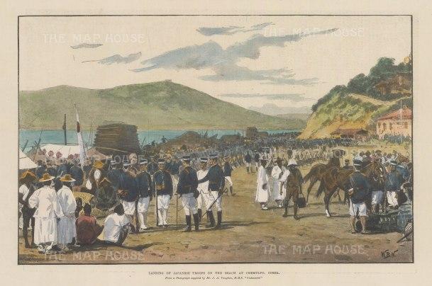 "Illustrated London News: Chemulpo, Korea. 1894. A hand coloured original antique wood engraving. 13"" x 9"". [SEASp1690]"