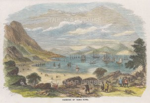 "Graphic Magazine: Hong Kong Harbour. 1858. A hand coloured original antique wood engraving. 9"" x 6"". [SEASp1718]"
