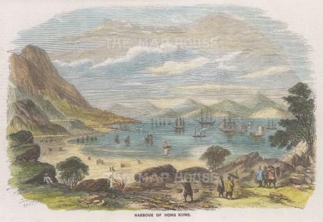 "Graphic Magazine: Hong Kong Harbour. 1858. A hand coloured original antique wood engraving. 9"" x 6"". [SEASp1718]"