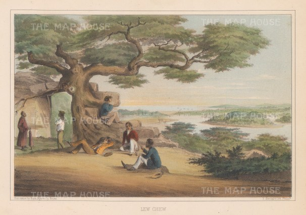 """Perry: Okinawa. 1856. A hand coloured original antique lithograph. 10"""" x 7"""". [SEASp842]"""