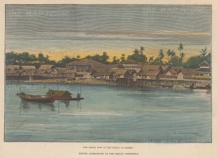 "Montbard: Pekan, Malaysia. c1880. A hand coloured original antique wood engraving. 11"" x 9"". [SEASp990]"