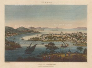 Constantinople: Panoramic view from Tophane. Engraved by John Pass.