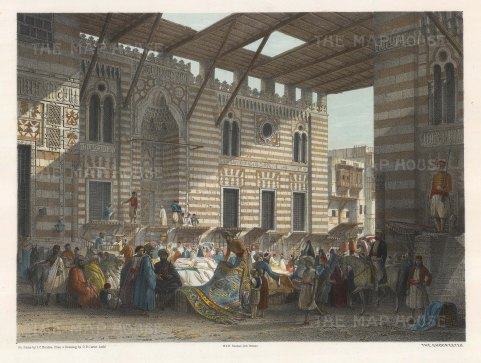 "Hay: Silk Bazaar, Cairo. 1840. A hand coloured original antique lithograph. 16"" x 12"". [EGYp1021]"