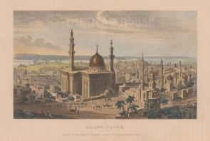 Grand Cairo: Panoramic view with Muhhamad Ali Pasha mosque in the foreground.