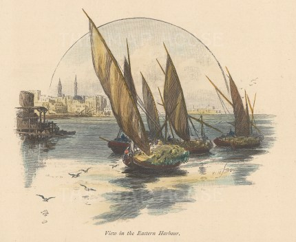 Ras-et-Teen: View in the Eastern Harbour with the palace of Ras-et-Teen in the distance.
