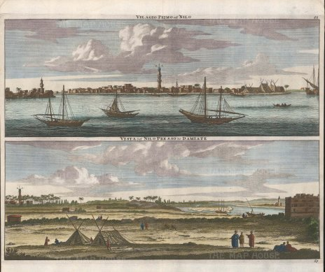 Double Panorama of the port of Damietta with the minaret of Amr Ibn Al-Aas and the Nile towards the east of the city.