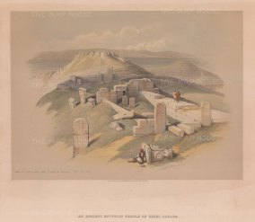 "Roberts: Temple of Surabit el Khadim, Sinai Peninsula. 1844. A hand coloured original antique lithograph. 14"" x 10"". [EGYp1138]"