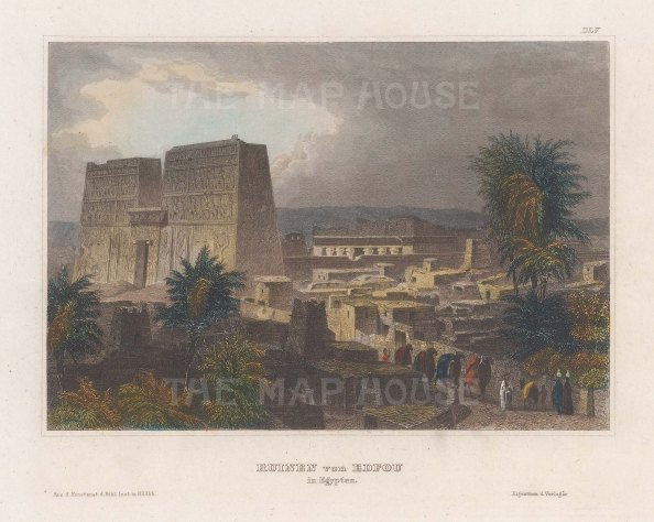 "Meyer: Temple of Horace, Edfu. 1839. A hand coloured original antique steel engraving. 6"" x 4"". [EGYp1146]"