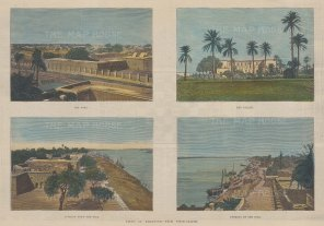 Khartoum: Four Views of the Fort, the Palace, Looking down the Nile, and Looking up the Nile.