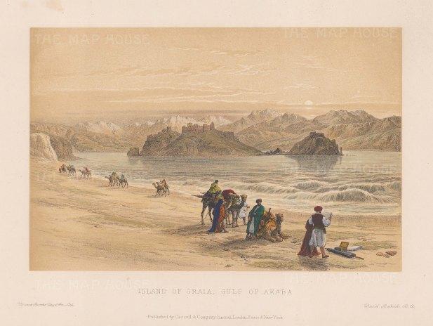 "Roberts: Graia Island, Gulf of Akaba. c1875. A hand coloured original antique lithograph. 8"" x 5"". [EGYp1161]"