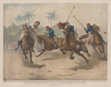"Graphic Magazine: Teaching the Trooper to Play Polo, Egyptian Cavalry. 1899. A hand coloured original antique photo-lithograph. 13"" x 10"". [EGYp1162]"