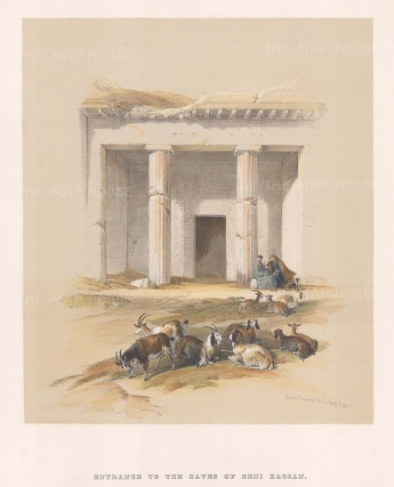 """Roberts: Beni Hassan Cemetery. 1849. A hand coloured original antique lithograph. 10"""" x 14"""". [EGYp76]"""