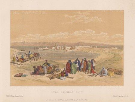 "Roberts: Suez. c1875. A hand coloured original antique lithograph. 8"" x 5"". [EGYp887]"