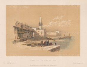 "Roberts: Quay of Suez. c1875. A hand coloured original antique steel engraving. 8"" x 5"". [EGYp935]"