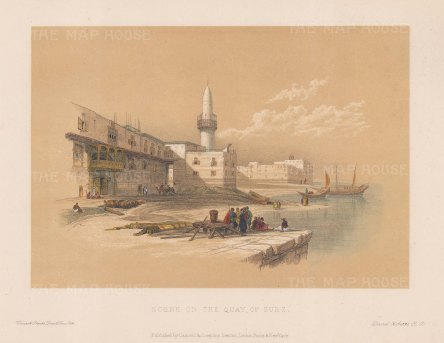 "Roberts: Quay of Suez. c1875. A hand coloured original antique steel engraving. 8"" x 5"". [EGYp935]"