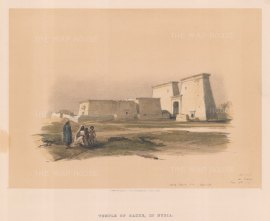"Roberts: Temple of Dakke, Nubia. 1846. A hand coloured original antique lithograph. 15"" x 13"". [EGYp979]"