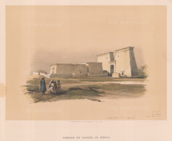 "Roberts: Temple of Dakke, Nubia. 1846. A hand coloured original antique lithograph. 15"" x 13"". [EGYp979]"