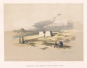 "Roberts: Temple of Wady Saboua, Nubia. 1847. A hand coloured original antique lithograph. 15"" x 13"". [EGYp982]"