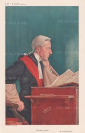"Vanity Fair: Mr Justice Bernard Coleridge. 1909. An original antique chromolithograph. 8"" x 12"". [LDNp10777]"