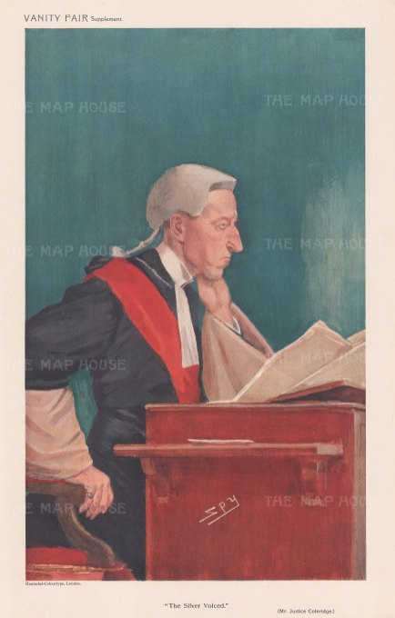 "Vanity Fair: Mr Justice Bernard Coleridge. 1909. An original antique chromolithograph. 8"" x 12"". [LDNp10777]"