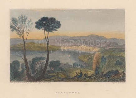 "Fullarton: Negropont. 1856. A hand coloured original antique steel engraving. 5"" x 4"". [TKYp1148]"