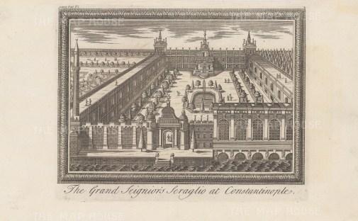 Constantinople: The Grand Seignior's Seraglio at Constantinople. Set within a decorative border.