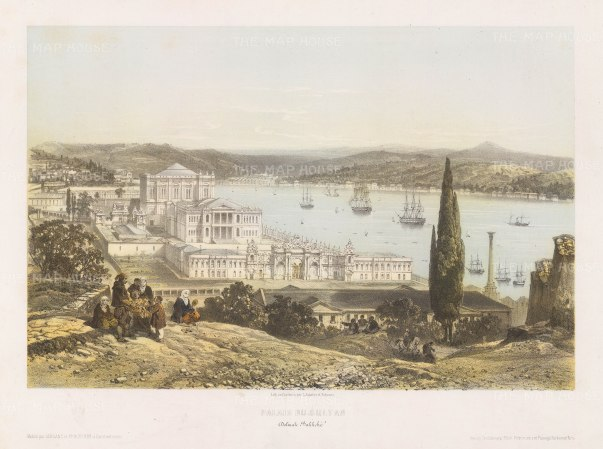 Constantinople: Dolmabahçe Palace. Bird's-eye view from the hills over the palace and Sea of Marmara.