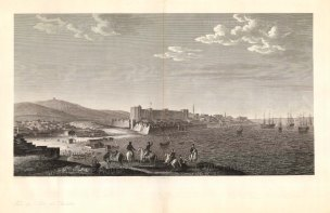 Tenedos (Bozcaada): Showing the island's15th century castle and southwest entrance to the Hellespont (Dardenelles), the narrow passage between the Aegean Sea and Sea of Marmara. The Western party in the fore may be a reference to the Russo-Turkish War (1787-92) in which the Ottomans were supported by the French and British.