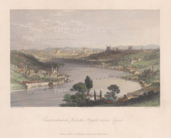 """Fisher: Istanbul. c1840. A hand coloured original antique steel engraving. 9"""" x 7"""". [TKYp1274]"""