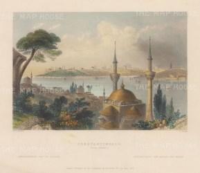 "Bartlett: Istanbul. 1838. A hand coloured original antique steel engraving. 8"" x 5"". [TKYp1317]"